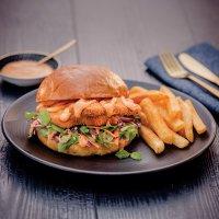 Thai chicken brioche burger