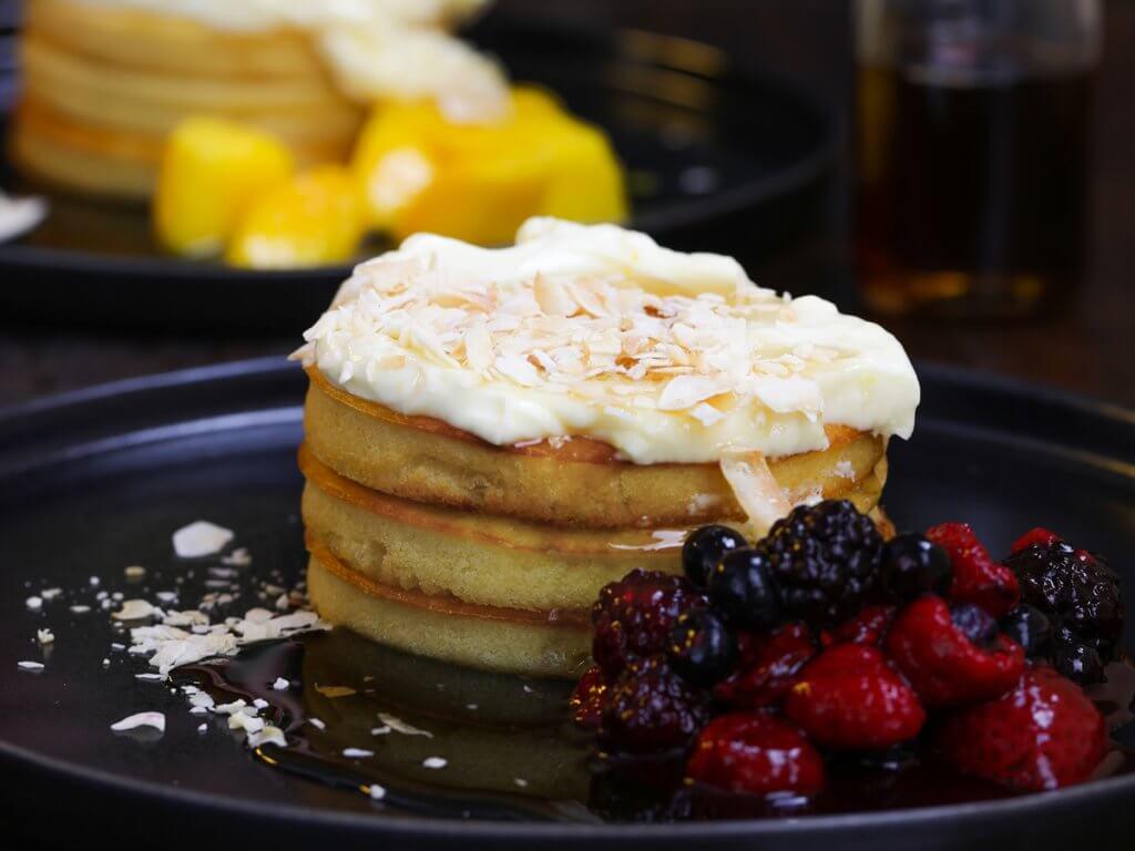 Pancake Stack with Lemon Cream Cheese (Vegan)